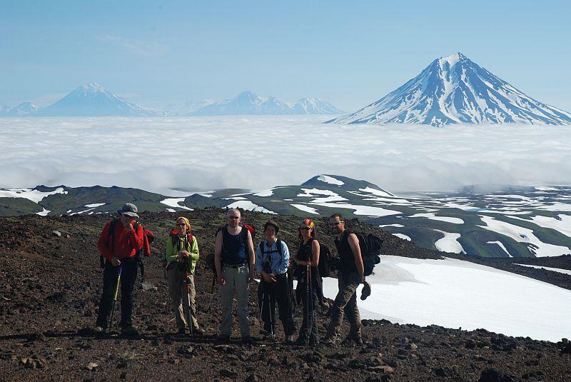 Am Gipfel des Vulkans Gorely