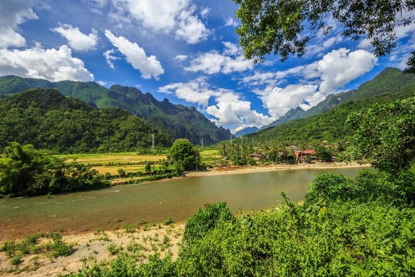 Song Fluss in der Nähe von Vang Vieng