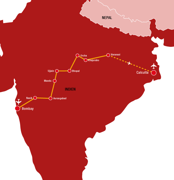 """Reiseverlauf unserer Reise """"Farbenfrohes Indien"""""""