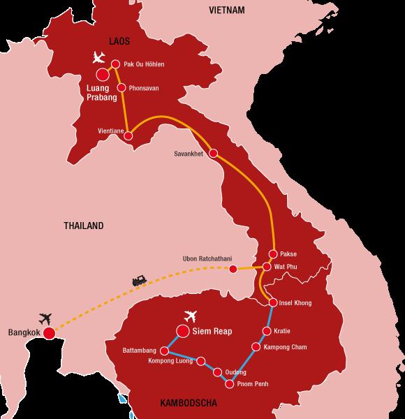 Reiseverlauf unserer Laos Reise