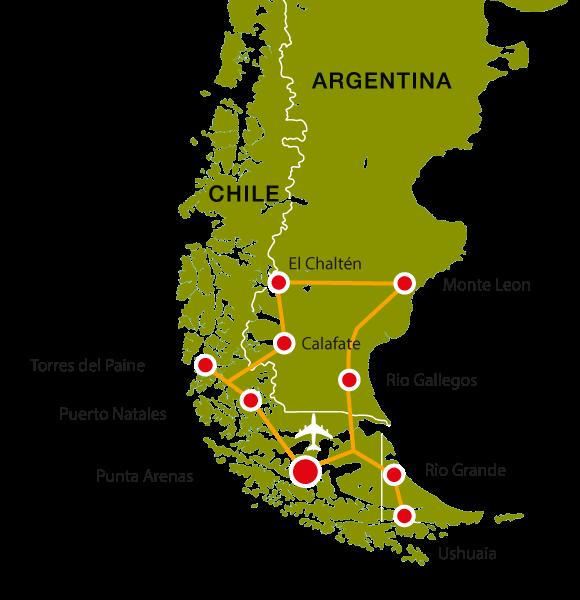 Patagonien Highlights Karte.Patagonien Rundreise Argentinien Und Chile Kondor Tours