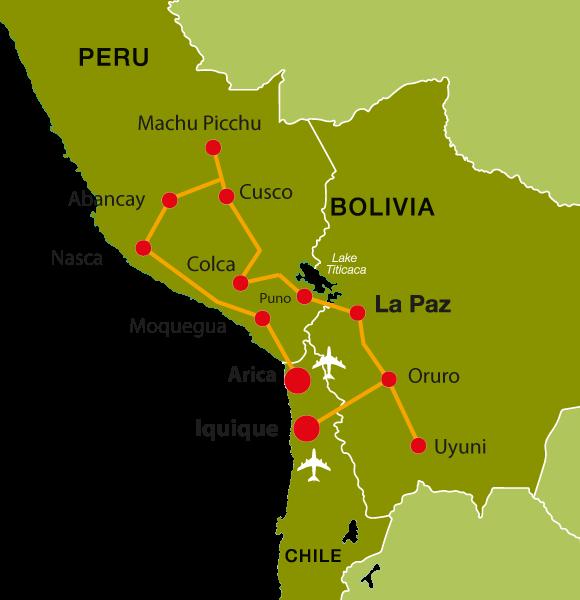 Peru Rundreise - Iquique, La Paz, Machu Picchu, Arica