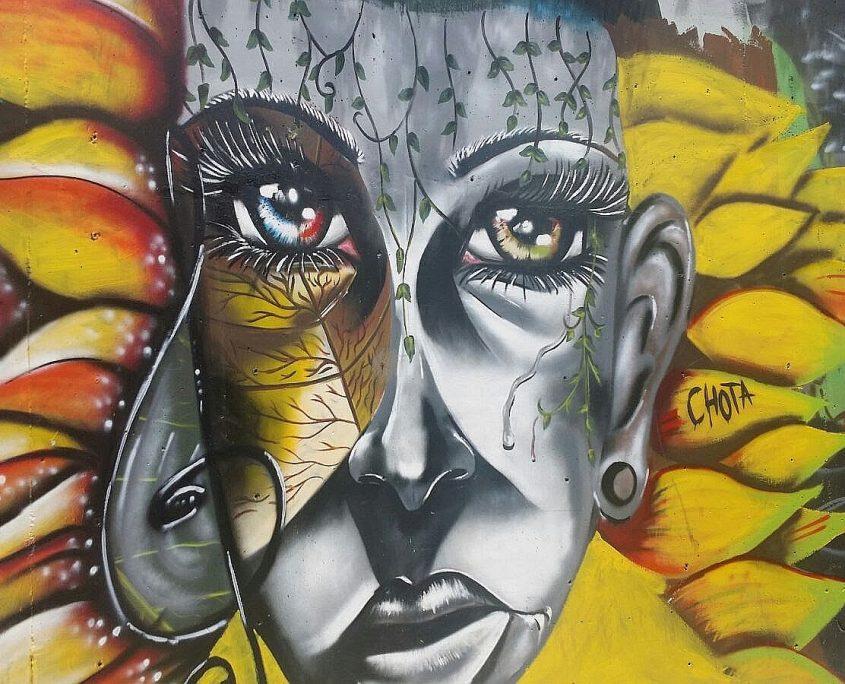Graffiti an einer Hauswand in Medellin