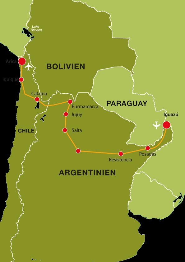 Von den Wasserfällen in die Atacamawüste